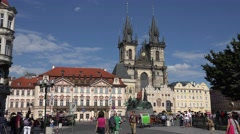 ULTRA HD 4K Tourist people visit Old Town Square Prague city tourist people day Stock Footage
