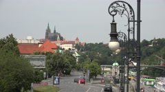 Aerial view panorama Prague castle church traffic street car pass commuter day Stock Footage