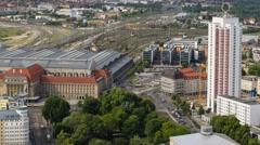 4k UHD aerial leipzig germany central station railhead time lapse 11434 Stock Footage