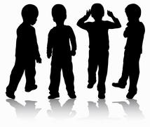 Boys silhouettes Stock Illustration