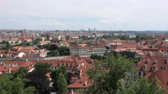 ULTRA HD 4K Panoramic view Prague old town famous city Charles bridge red roof Stock Footage
