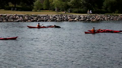 Learning to turn the kayak Stock Footage