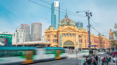 4k timelapse video of Flinders Street station in Melbourne in daytime Stock Footage