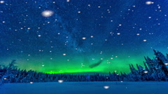 Aurora borealis with falling snow in Finland Stock Footage