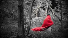 Stock Video Footage of Beautiful red riding hood walking in forest, super slow motion, 240fps HD