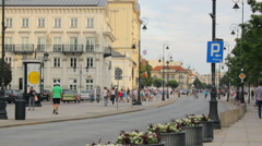 The old town of Warsaw with historical buildings, people walk Stock Footage