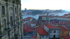 view of old town of Porto, under the protection of UNESCO - stock footage
