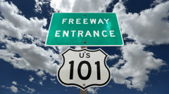 US 101 Freeway Sign Time Lapse Stock Footage