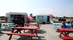 Retro Ice cream area on Amager Beach Stock Footage