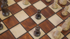 Chess. The loss. Battle. rook beats a pawn. Stock Footage