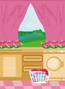 Stock Illustration of modern, pink and feminine  kitchen
