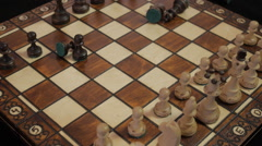 Chess. Bad game. Annoyance. Chagrin. To destroy hand chess pieces. Stock Footage
