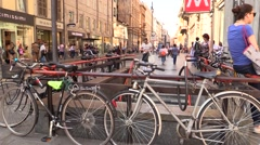 Bicycle parking at Metro/ Underground (Milan, Italy) Stock Footage