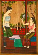 thai painting of women. - stock photo