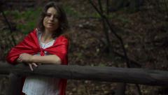 Pensive mysterious woman in the forest, super slow motion, 240fps HD Stock Footage