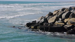 Mussel Rocks Calm Waves California - stock footage
