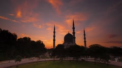 Sunrise Time Lapse with a silhouette of a mosque Stock Footage