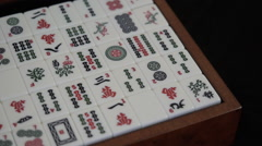 Close up. Mahjong is a traditional Chinese game of chance. Open box. - stock footage