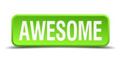 awesome green 3d realistic square isolated button - stock illustration