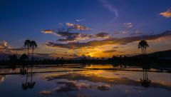 Time lapse beautiful sunset and reflection in pond Stock Footage