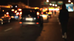 Cars and pedestrians on border crossing out of focus Stock Footage