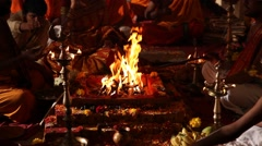 Fire flame in Indian temple Stock Footage