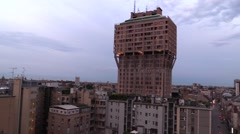Torre Velasca skyscraper (Milan) Stock Footage