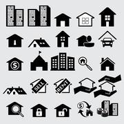estate icons - stock illustration
