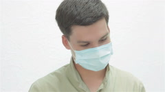 Listened to the complaints of the patient dentist wears protective red glasses Stock Footage