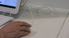 Hand, mouse, white keyboard and display Stock Footage
