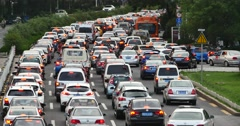 4k Modern urban city busy heavy traffic jams,A lot of cars on highway street. Stock Footage