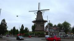Famous Windmill in Amsterdam called De Gooyer Molen Stock Footage