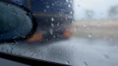 RAIN DROPS ON THE DRIVING CAR WINDOW GLASS Stock Footage