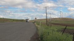 Washington Klickitat County wind farm blades and poles 2 Stock Footage