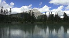 Canada Alberta Banff Bow River Tunnel Mountain  Stock Footage