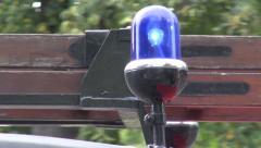 Blue flashing light lamp on car Stock Footage