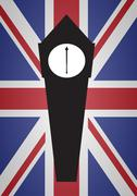 UK Flag and Clock Tower Stock Illustration