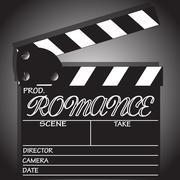 Romance Clapper Board Design - stock illustration