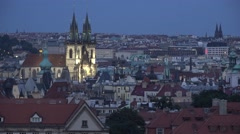 ULTRA HD Old town hall tower, Prague, twilight night illuminated landmark city Stock Footage