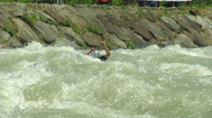 Wildwater canoeing man double slow motion 41 Stock Footage