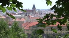 ULTRA HD 4K Aerial view panorama Prague architecture landmark old town blurred  Stock Footage
