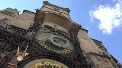 ULTRA HD 4K Town Hall Tower Astronomical Clock in Prague blue sky landmark icon  - stock footage