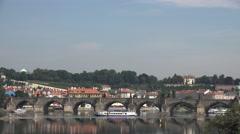 ULTRA HD 4K Panorama view Charles bridge Prague city landmark sunny day tourism  Stock Footage