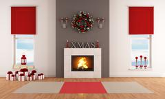 modern christmas living room - stock illustration