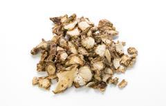 sand ginger, aromatic ginger, resurrection lily , kaempferia galanga l on whi - stock photo