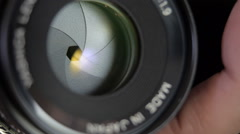 The work of the diaphragm iris lenses Stock Footage