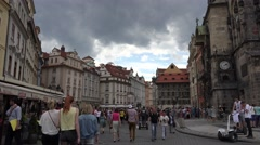 ULTRA HD 4K Tourist people visit public square Old Town Hall Tower Prague city  Stock Footage