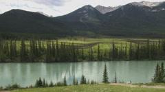 Canada Alberta Bow River greenish water  Stock Footage