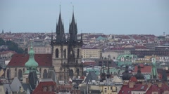 ULTRA HD 4K Aerial view Prague ancient church old town city hall tower cityscape Stock Footage