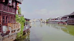 Traditional Chinese houses in the river of Zhujiajiao watertown ,  China Stock Footage